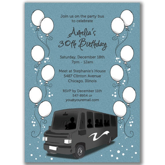 Items similar to 15 Party Bus Invitations Balloons for a Birthday, Bridal, or Bachelorette Party ...