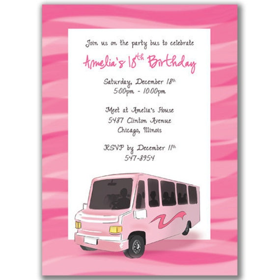 Party Bus Invitations Pink Wave or Polka Dot for a by milelj