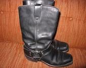 Vintage Leather biker boots. Mens 8 Womens 9 square toe