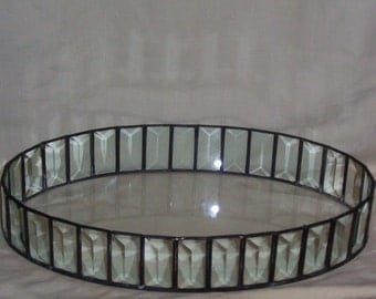 """Stained Glass Leaded Glass Vanity Tray Beveled Oval 13"""" x 8"""""""