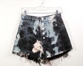 black bleached tie dye cut off high waist shorts