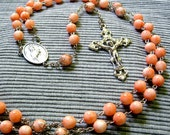 Rosary of Coral-Dyed Glass Beads