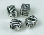 Silver Pewter Large Cube Fine Beads - Lead-Free - (4 pc) (p080)