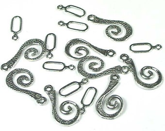 8 pair Silver Pewter Spiral Hook Clasps - Lead-Free (p140)