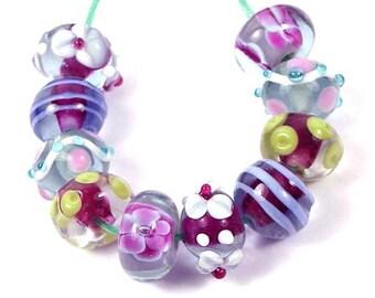 Lampwork Handmade Glass Beads Lavender Blossom (L955)