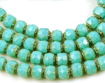 Czech Glass Renaissance Firepolish Beads 6mm : Opaque Turquoise - Picasso (25 pc) (C159)