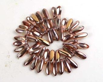 Czech Glass Dagger Beads 10x3mm - Apollo Gold (50 pc) (C207)
