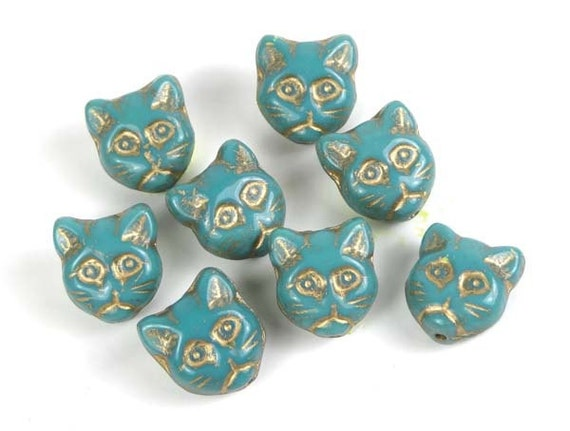 Czech Glass Beads Cat Head Faces Turquoise - Gold Inlay 12mm  (8 pc) (C186)