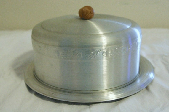 Vintage Aluminum Cake Pie Carrier Server Pan With By
