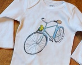 Bird on a Bike. Original hand drawn design. All sizes except adult. 100 percent cotton.