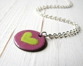 Enamel Necklace, Lime Green And Pink Pendant - Little Heart