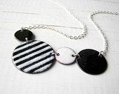 Black And White Enamel Necklace - White Stripes
