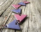 Geometric Necklace, Purple And Pink Enamel On Copper - Triangles