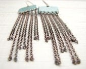 Fringe Earrings, Turquoise Blue Enamel On Copper, Long, Shoulder Dusters