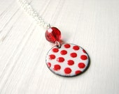 Red On White Polka Dots, Enamel Necklace - Belle