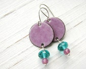 Pink And Teal Enamel Earrings, Copper And Sterling Silver - Raspberry Sorbet
