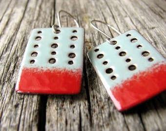Turquoise Blue and Red Earrings - Modern Rectangle Earrings - Turquoise Blue and Red Enamel Earrings - Handmade Enamel Jewelry