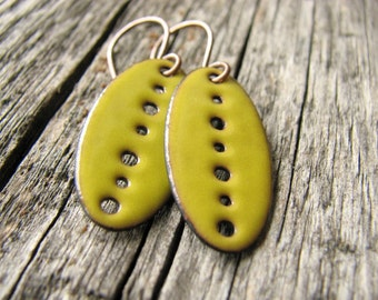 Sunny Yellow Enamel Earrings, Copper Dangle Earrings / europeanstreetteam
