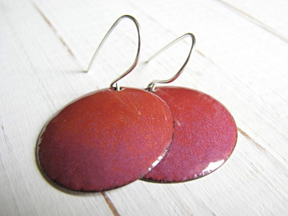 Pink Enamel Earrings, Rosey Copper And Sterling Silver - Persuassion