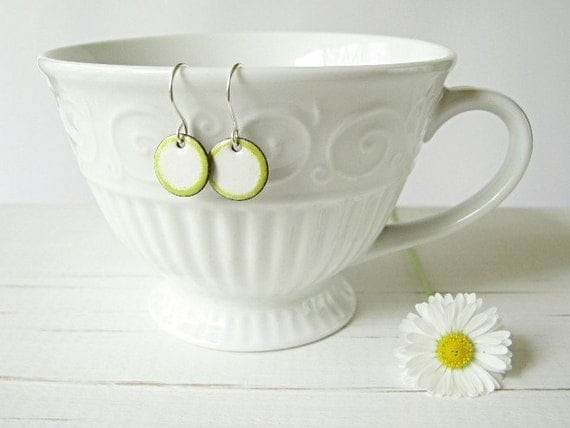 Small Enamel Earrings, Copper And Sterling Silver, White And Lime Green - Candies