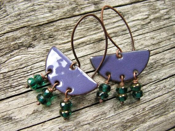 Purple Enamel Earrings With Emerald Green Dangles - Nomad Girl