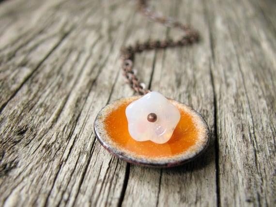 Enamel Necklace - Orange And White Flora