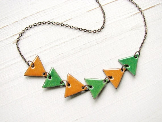 Short Triangle Necklace, Orange and Green Enamel on Copper, Arrow Necklace, Geometric Jewelry