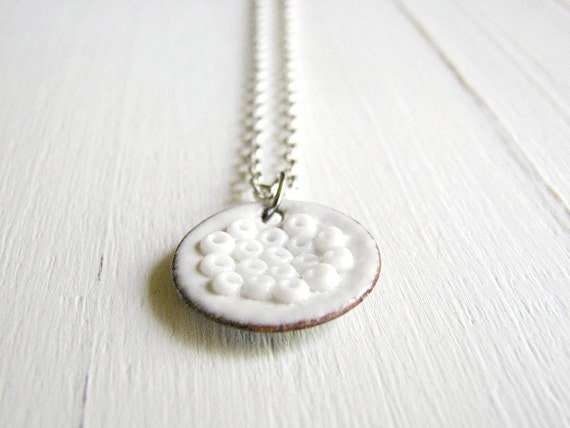 Small White Enamel Necklace - Weightless