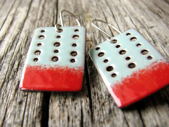 Turquoise Blue and Red Earrings, Modern Rectangle Earrings, Handmade Enamel Jewelry, Copper and Sterling Silver