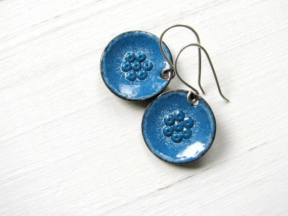 Blue Enamel Earrings, Copper And Sterling Silver, Blue Flower / europeanstreetteam