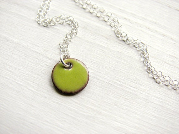 Dainty Enamel Necklace, Sterling Silver And Copper - Tiny Lime Green Dot