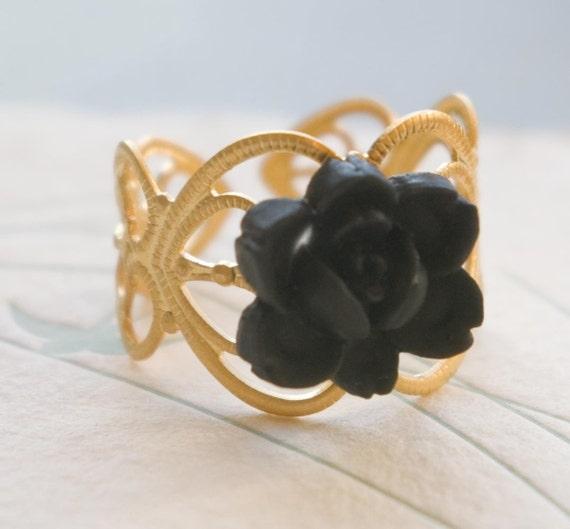 Black Rose Ring on Gold Plated Base