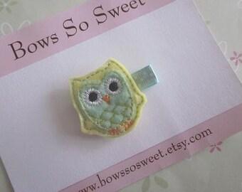 Owl Felt Hair Clippie for Infant Toddler Girl