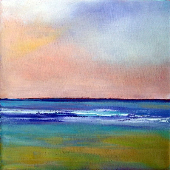 """Beach art print """"Summer Surf II"""" square, matted for 8x10 frame"""