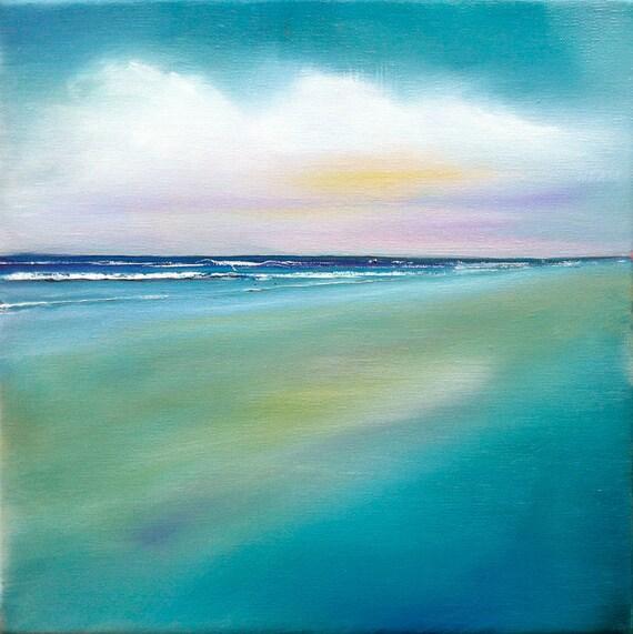 "Ocean painting, aqua ""Sea CIouds"" 10x10 oil on linen"