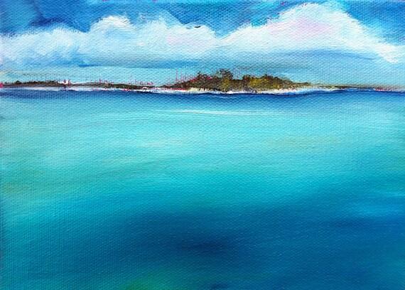 """Island landscape painting """"Turquoise Island I"""" 5x7 oil, palm trees- paradise"""