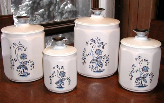 Vintage Kromex Kitchen Canisters / Set of Four 4 Storage Containers / Tins - UPCYCLED with RECYCLED Knobs