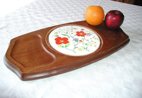 Vintage Cheese Board by GAILSTYN  - Wooden Tray & Ceramic Cutting Board