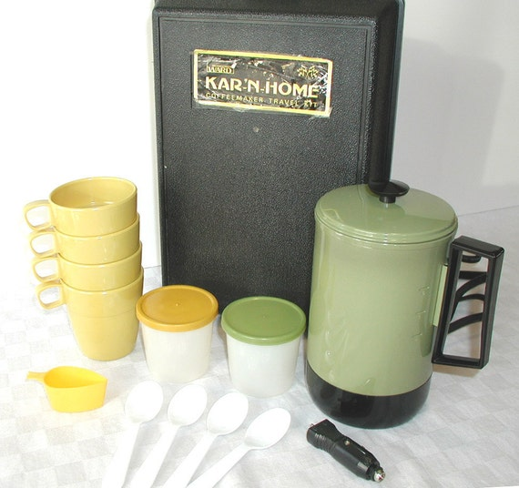 Kar 'N Home Travel Coffee Maker Set   Montgomery Ward Vintage Percolator & Case
