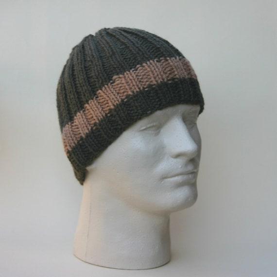 Men's Beanie Olive Green Tan Ribbed Knit Hat Toque Warm Winter Merino Wool