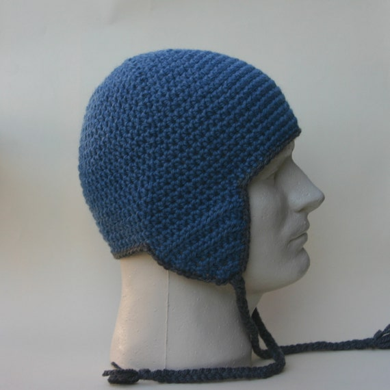 Mens Earflap Ear Flap Hat Beanie Crochet Charcoal by ...
