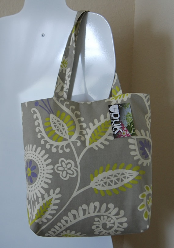 The Shine On Handbag, medium size, pretty neutral colors, sturdy cotton canvas Waverly brand fabric