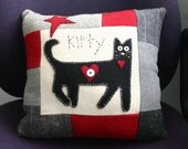 Kitty love-wool kitty pillow made from upcycled wools by Northernlodge