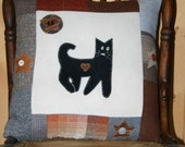 Black Cat Pillow Wool Decorative Accent  Eco Friendly Upcycled wool Stars Kitty  Halloween Primitive Folk Art by Northernlodge