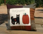 Autumn Cat Pillow Primitive Black Cat  Pumpkin