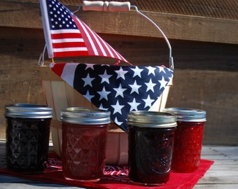 Organic Patriotic Jam Gift Basket Four  8 oz