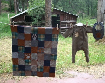 where the wild things are-sleeper, quilt, and bib-wolf set