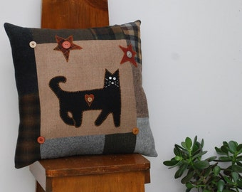 Wool Cat Pillow Primitive Black Cat Stars Pillow from Upcycled Wools