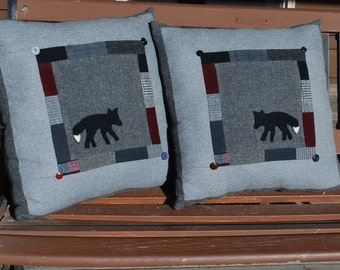 Fox pillow wool upcycled Black Gray  patchwork