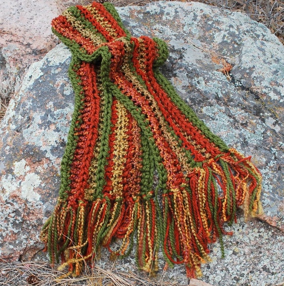 Autumn Wildfire Scarf Handmade Autumn Colours Texture Fall Leaves Collegiate Accessories Multiple Yarns Bulky Thick Long Neckwear